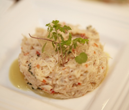 Crabmeat Parfait with Meyer Lemon Jam, Basil, and Pisco–Espelette Gelée