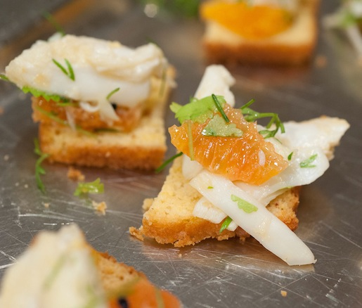 Pine Island Crab Salad with Florida Citrus and Cortez Bottarga on Cornbread Melba Toasts