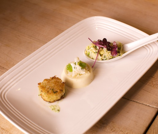 Dungeness Crab Trio > Dungeness Crabcake, Dungeness Crab–Hearts of Palm Salad, and Dungeness Crab–Miso Custard