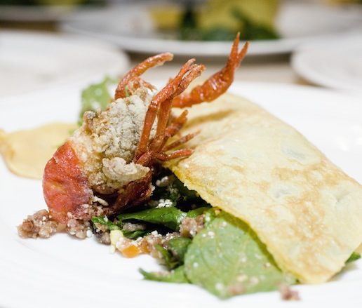 Softshell Crayfish with Wild Boar Larb, Rice–Herb Salad, and Egg Crêpe
