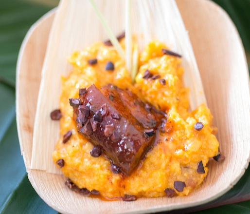 Creamy Cuban-Style Fresh Corn Polenta and Roasted Slab Bacon in Chile–Guava Adobo by Maricel Presilla (Cucharamama, Zafra)