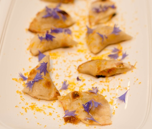 Squash Blossom Crêpes with Crescenza Cheese, Borage Blossoms, and Sardinian Caviar