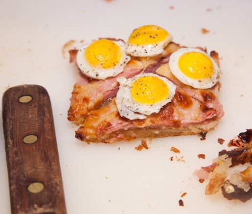 Croque Madame Bites with Quail Eggs, Ham, and Mornay Sauce