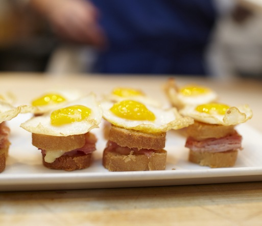 Miniature Croque Madames with Chisesi Brothers Ham and Fried Quail Eggs