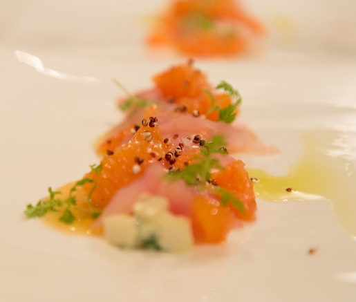 Wild Striped Bass Crudo with Celeriac Rémoulade, Cara Cara Oranges, and Pressed Green Olives