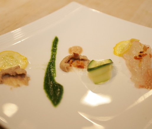 Langoustine Crudo with Zucchini and Pesto