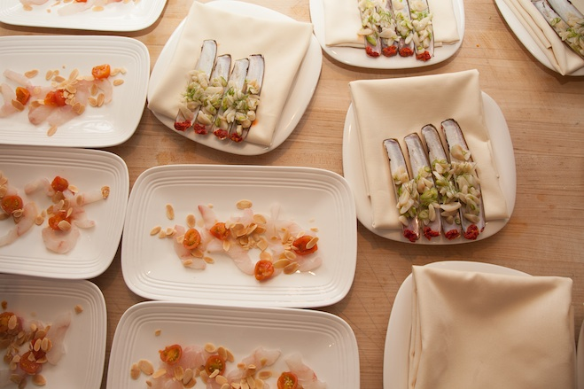 Fluke with Pickled Tomatoes and Almonds; Razor Clams with Fennel and Pickled Chiles