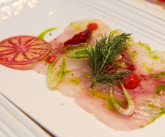Black Bass Crudo with Blood Orange, Fennel, and Jalapeños