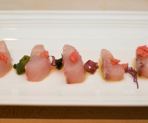 Striped Bass Crudo with Pomegranate–Ginger Granité and Seaweed Ponzu