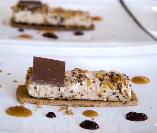 Frozen Candy Bar with Shortbread, Pecan Toffee, and Nougat