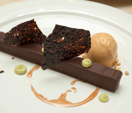 Valrhona Chocolate Ganache with Cinnamon Caramel, Avocado Mousse, and Chipotle Ice Cream