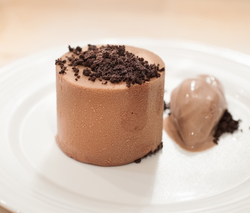 Layered Chocolate Mousse Cake with Chocolate Cake Ice Cream