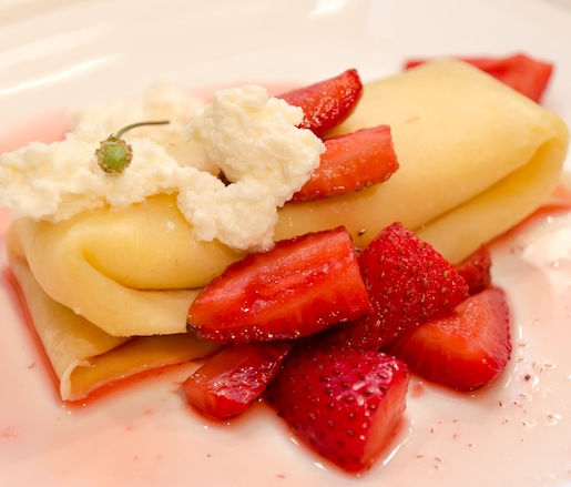 Crespelle with Red Wine Strawberries and Ricotta