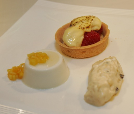 Dessert Trio > Champagne–Raspberry Gratin, Vanilla Rice Pudding, and Coconut Panna Cotta