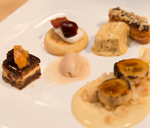 Hazelnut-Crusted Churro with Espresso Semifreddo; Alabama Peanut Génoise with Olive and Sinclair Chocolate, Salted Peanut–Praline Ice Cream, and Wild Strawberries; Summer Stone Fruit Crostini with Sweetened Stone Hollow Farmstead Goat Cheese; and Vanil