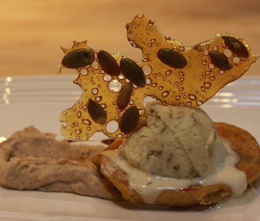 Musquée de Provence Frittelle with Chestnut–Mascarpone Mousse and Roasted Pumpkin Seed Ice Cream