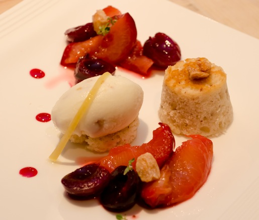 Honey-Roasted Plums with Almond Milk Gelato, Summer Cherry Marmalade, and Lemon Thyme