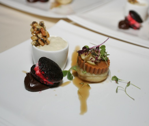 Dessert Trio > Chèvre Arborio Pudding with Wildflower Honey and Lavender; Apple Frybread with Gjetost and Salty Butterscotch; and Dark Chocolate Madeleine–Cinnamon Ice Cream Sandwich with Turkish Coffee Sauce