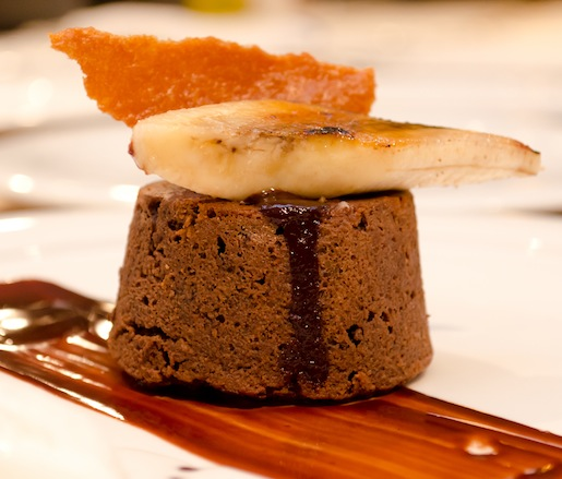 Chocolate–Banana Coulant with Coconut–Caramel Wafer, Brûléed Bananas, and Coconut–Banana Ice Cream