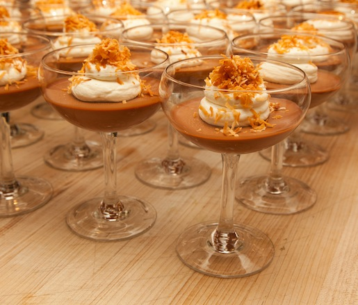 Chocolate–Ancho Chile Panna Cotta with Toasted Coconut Crema