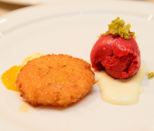 CB Ranch Raspberry Sorbet with Sherry-Fried Green Tomatoes, Kumquat Crème Chiboust, and Caramelized Fennel
