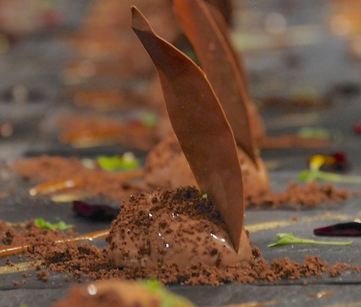Gabriella's Mother's Florentine Schiacciata Cake > Cosetta's Schiacciata with Lightened Crème Anglaise, Mint Leaves, and Vanilla–Bourbon Sugar Chantilly Sauce