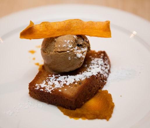 Maple Cake with Indian Pudding Ice Cream and Pumpkin Chip