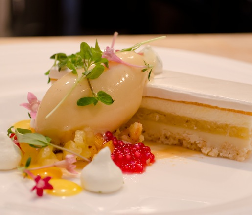 Tropical Mousse > White Chocolate Mousse with Caramelized Pineapple and Citrus Tapioca