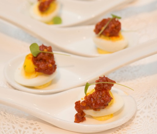 Deviled Quail Eggs with Chorizo Marmalade