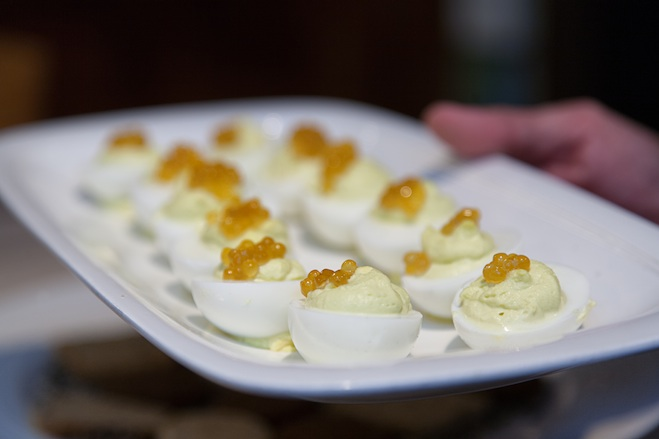Wasabi-Deviled Feather Ridge Farm Eggs with Trout Roe