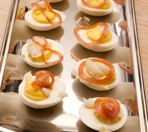 Salt Cod Deviled Eggs