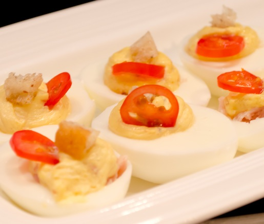 Hot Brown-Style Deviled Eggs