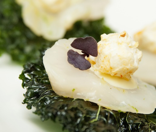 Berkshire Mountain Distillers Gin–Cured Diver Scallops with Pickled Jalapeño Aïoli and Berry Patch Kale Chips