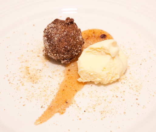 Persimmon–Chestnut Doughnut with Bossa Ice Cream and Missouri Honey