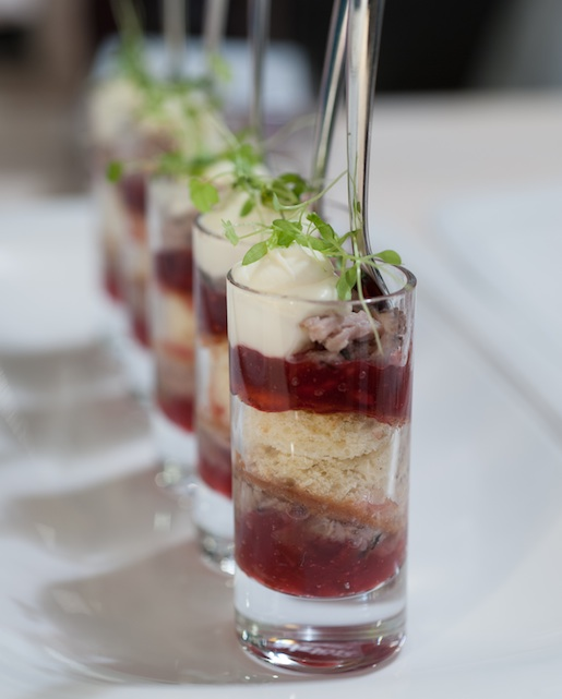 Duck Rillettes, Sweet Brioche, and Cranberry–Champagne Jam Parfait