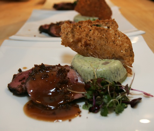 Seared Five-Spice Hudson Valley Magret Duck Breast with Edamame–Mushroom Flan and Plum Wine–Ginger Jus