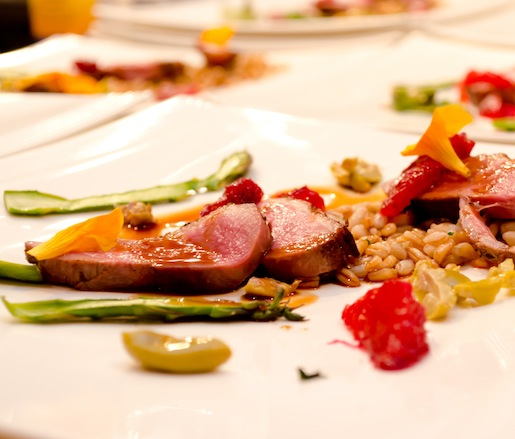 Liberty Farms Duck Breast with Blood Oranges and Fiddleheads