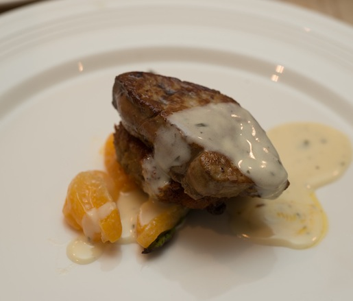 Pistachio-Coated and Pan-Seared Duck–Brie Mousse Cake with Dried Apricot–Champagne Sauce and Hudson Valley Foie Gras