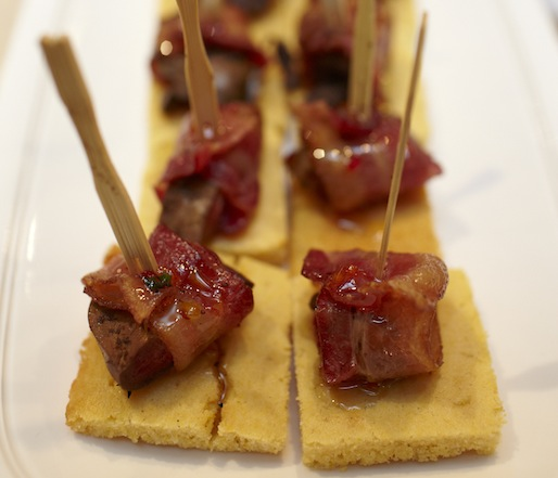 Bacon-Wrapped Duck Liver with Pepper Jelly on Cornbread Crostini