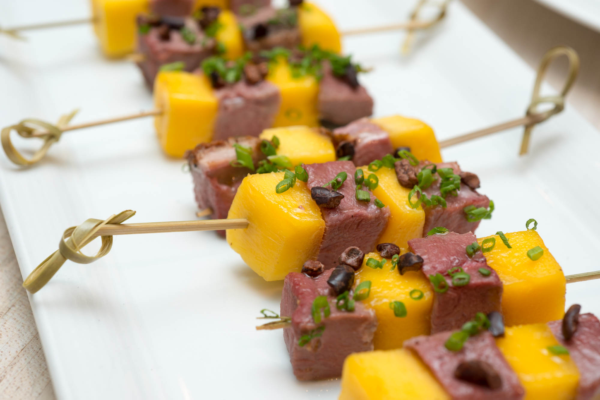 Housesmoked Duck and Mango Brochettes