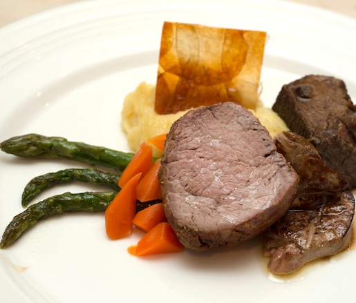 Certified Angus Beef® Duo > Tenderloin with Foie Gras and Braised Short Ribs with Mashed Yukon Gold Potatoes, Pommes Anna, Glazed Carrots, and Asparagus