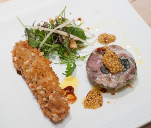 Head Cheese and Foie Gras Duo with Date Chutney, Pickled Mustard Seeds, and Gilberti's Petite Edibles
