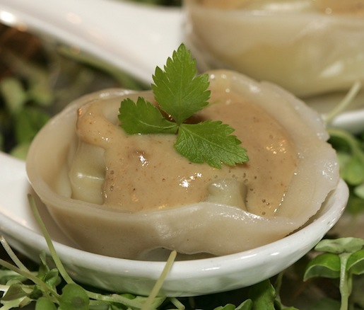 Caramelized Edamame Dumplings with Hudson Valley Foie Gras Sauce