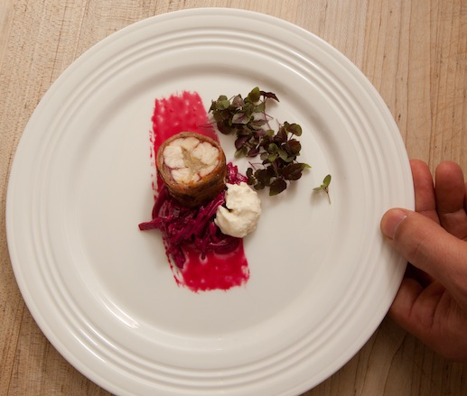 Smoked Eel with Pancetta, Beet Rémoulade, and Horseradish