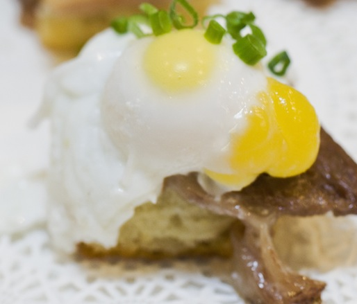 Miniature Eggs Benedict with Poached Quail Eggs and Porchetta di Testa