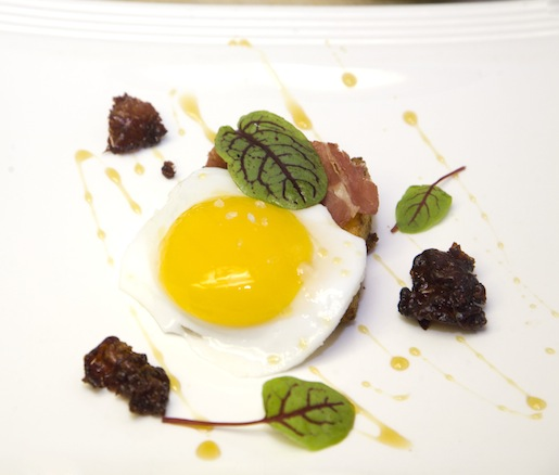 Weisenberger Mill–Kenny's Farmhouse Cheddar Grits Cake with Country Ham, Kentucky Maple Syrup, Duck Egg, and Red-Veined Sorrel