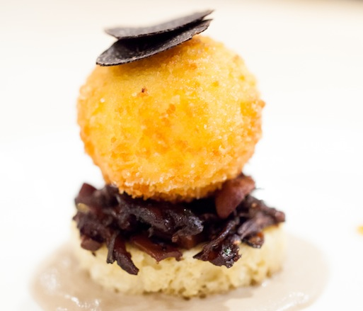 Fried Soft-Boiled Egg with Mushrooms, Mushroom Cream, and Black Truffles