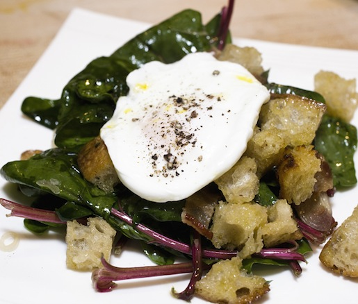 Red-Veined Spinach with Warm Bacon Vinaigrette, Skillet Croutons, and Poached Araucana Egg