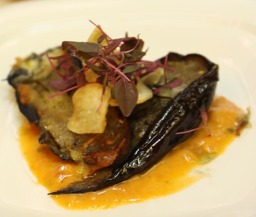 Grilled Eggplant with Jalapeño–Tomato Fondue, Garlic Chips, Beaver Brook Farm Pleasant Cow Cheese, and Olive Oil Caviar