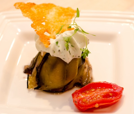 Eggplant Sfornato Stuffed with Roasted Peppers, Whipped Ricotta, and Parmigiano-Reggiano Crisp